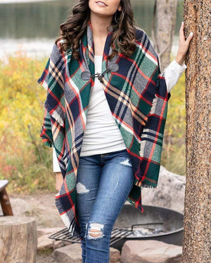(**final sale**) Blanket Scarf/Toggle Poncho