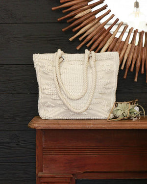(**final sale**) Bubble Jacquard Tote Natural