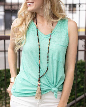 (**final sale**) Burnout Pocket Tank Beach Glass / XXS