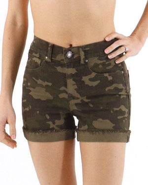 (**final sale**) Camo Zip Up Midi Shorts