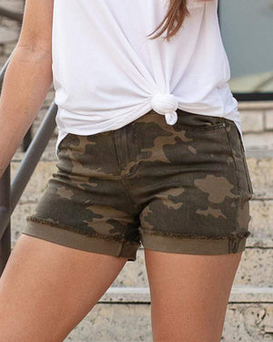 Camo Zip Up Midi Shorts - Camo / XS