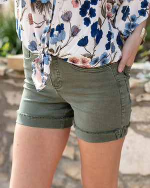 Colored Zip Up Midi Shorts - Olive / XS