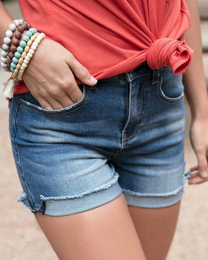 (**final sale**) Denim Super Stretch Zip Up Midi Shorts