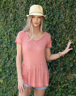 (**final sale**) Fable Peplum Tee Washed Apricot / XS