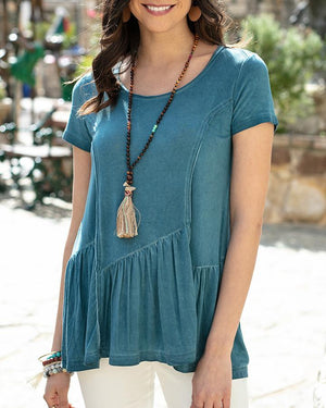 (**final sale**) Fable Peplum Tee Washed Teal / XS