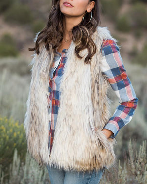 Faux Fur Vest - Blonde / XS