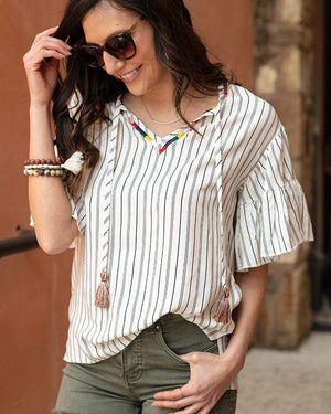 Havana Top - Ivory w Black Stripe / XS