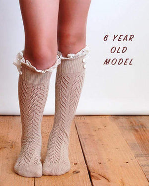 (**final sale**) Lil Dainty Boot Socks Tan