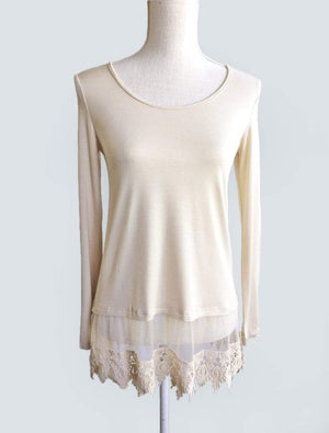Long Sleeve Top Extender - Light Cream / XS