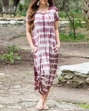 (**final sale**) Perfect Pocket Tee Maxi Dress Washed Plum Tie Dye / XS/S