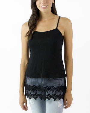 Pointed Lace Top Extenders - Black / XS