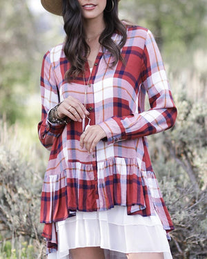 (**final sale**) Ruffle Plaid Cayenne Ivory / XS