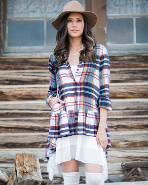 (**final sale**) Ruffle Plaid Multi Ivory Plaid / XS