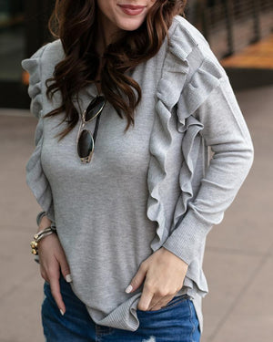 Ruffle Sweater - Grey / XS
