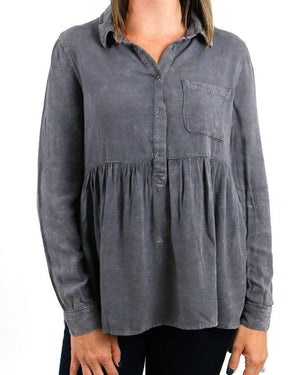 Sadie Vintage Washed Tunic - Grey / XS