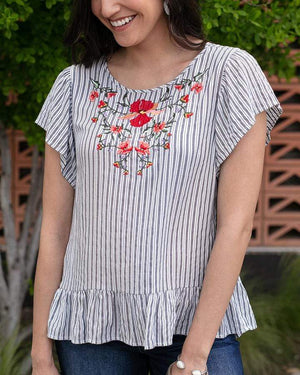 (**final sale**) Sanibel Embroidered Top Navy/White / XS