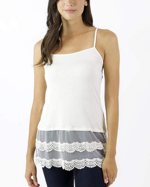 (**final sale**) Scalloped Lace Top Extenders Light Cream / S