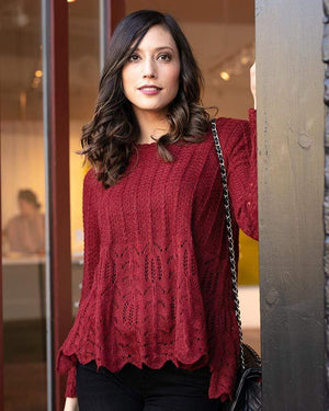 (**final sale**) Snowflake Sweater Cranberry / XS