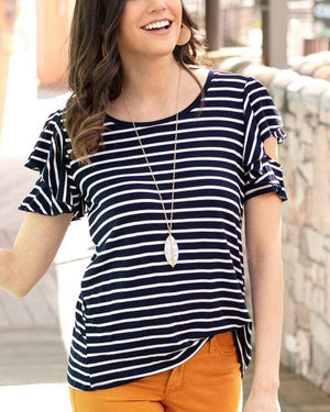 (**final sale**) Striped Ruffle Sleeve Tee Navy/White / XS