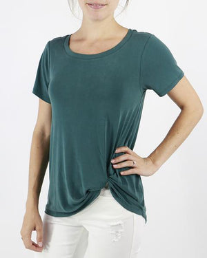 (**final sale**) Sueded Modal Knotted Tee Peacock / XS