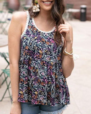 (**final sale**) Sylvie Sleeveless Tank Navy Floral / XS