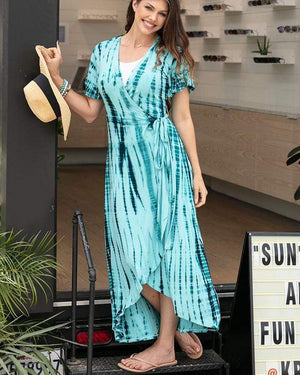 Tie Dye Maxi Wrap Dress - Washed Aqua / XS/S