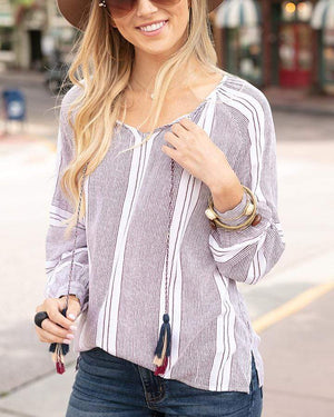 Wayfarer Tassel Tunic - Wine Striped / XS