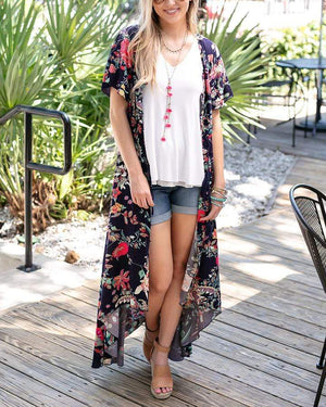 Floral Button Up Maxi Kimono/Dress -