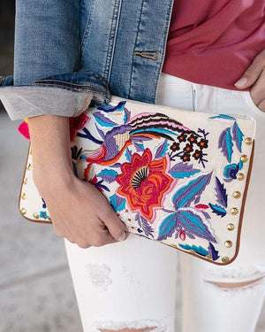 - Ivory Floral Clutch / One Size