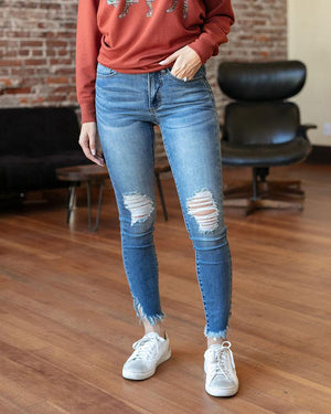 Frayed Hem Jeggings - Light Mid-Wash / 00