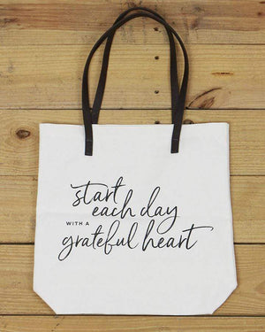 G&L Inspirational Quote Totes - Start each day with a grateful heart