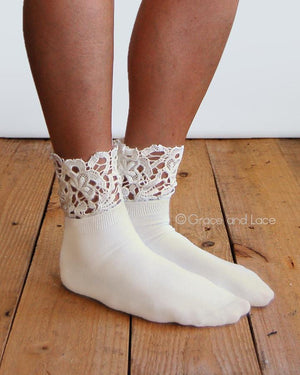 Lace Topped Bootie Socks - Ivory