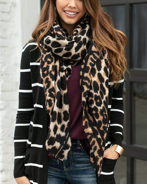 Leopard Print Scarf Leopard Print / One Size