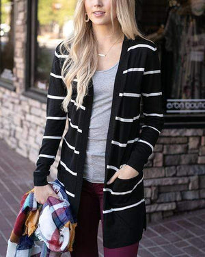 Lightweight Cardi Black with White Stripe / XS