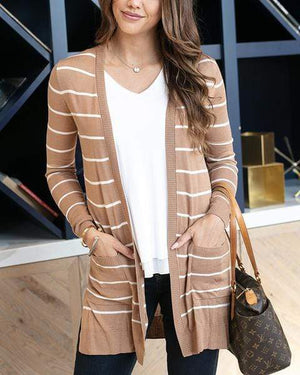 Lightweight Cardi Camel and White Stripe / XS