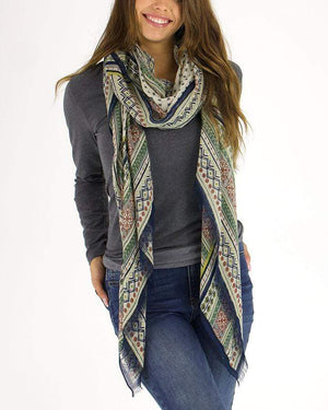 LightWeight Scarf Natural Border Print / One Size