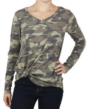 Long Sleeve Perfect Pocket Tee - Camo / XXS