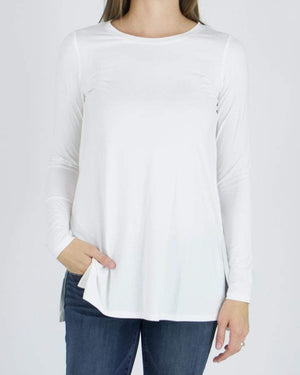 Long Sleeve Tunic Tee - Ivory / XS