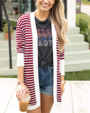 Casual Day Cardi - Wine Stripe / XS