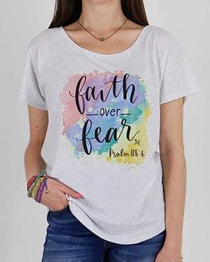 Faith Over Fear Graphic Tee - Heathered White / XS (Will Ship Early May)