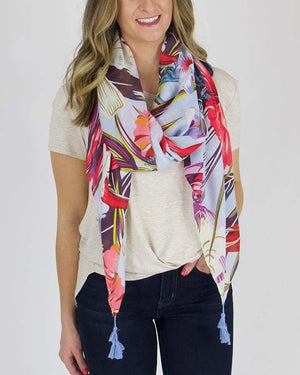 Floral Spring Scarf - Vibrant Hibiscus / One Size