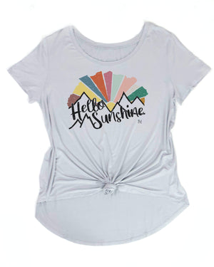 Hello Sunshine Scoop Neck Graphic Tee -