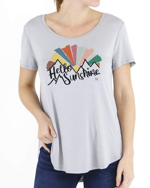Hello Sunshine Scoop Neck Graphic Tee - Hello Sunshine Grey / M