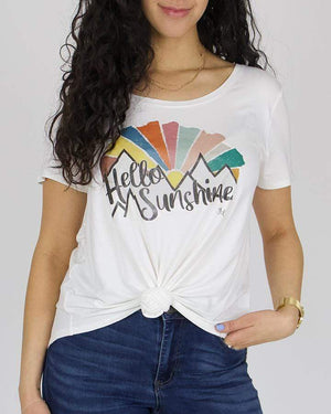 Hello Sunshine Scoop Neck Graphic Tee - Hello Sunshine Ivory / M