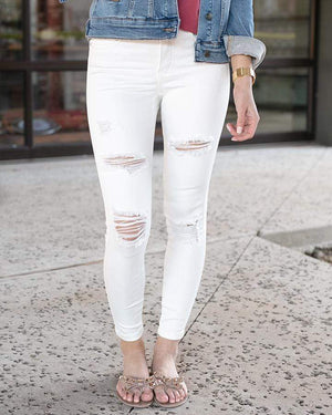 Distressed Ankle Length Jeggings - Off White / Size 0