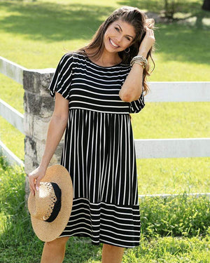 Striped Midi Dress - Black with White Stripes / XS