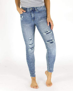 Patched Distressed Mid-Rise Jeggings -