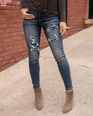 Patched Distressed Mid-Rise Jeggings - Dark Wash / XS