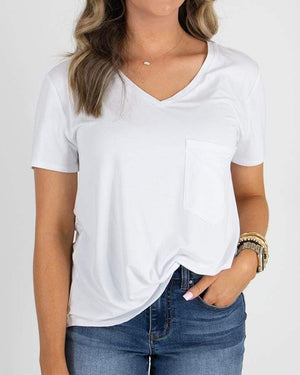 Perfect Pocket Tee - Heavy Gauge - Bright White / XXS