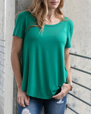 Perfect Scoop Neck Tee - Emerald / XXS